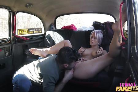 Big breasted driver rides cock