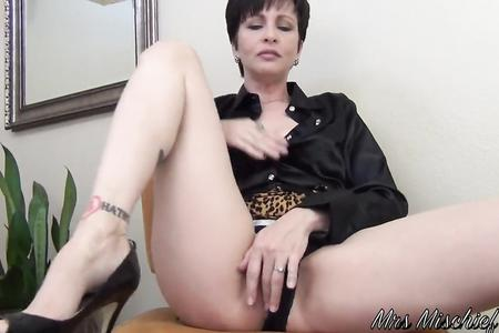 Excited mother gets an orgasm in a missionary position